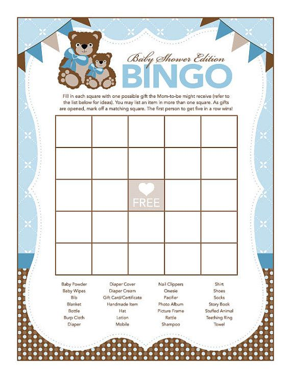 instant download blue teddy bear baby shower games pack printable rh pinterest com