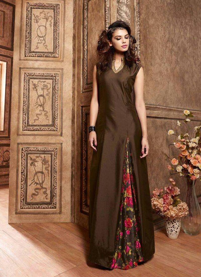 d4d590bfff5 New Stylish Designer Plain Brown Salwar Kameez 7 Days Easy Return