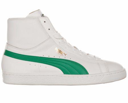 reputable site 47538 40249 Puma Basket Classic Mid White/Green Leather Puma Basket ...