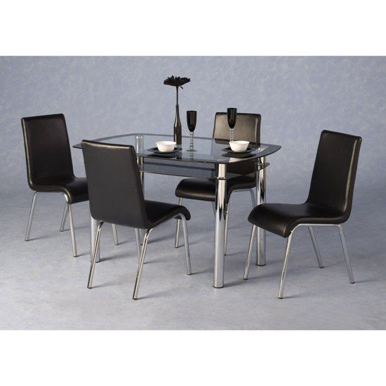 Harley Black And Clear Glass Dining Table And 4 Black Chairs - | 4 ...
