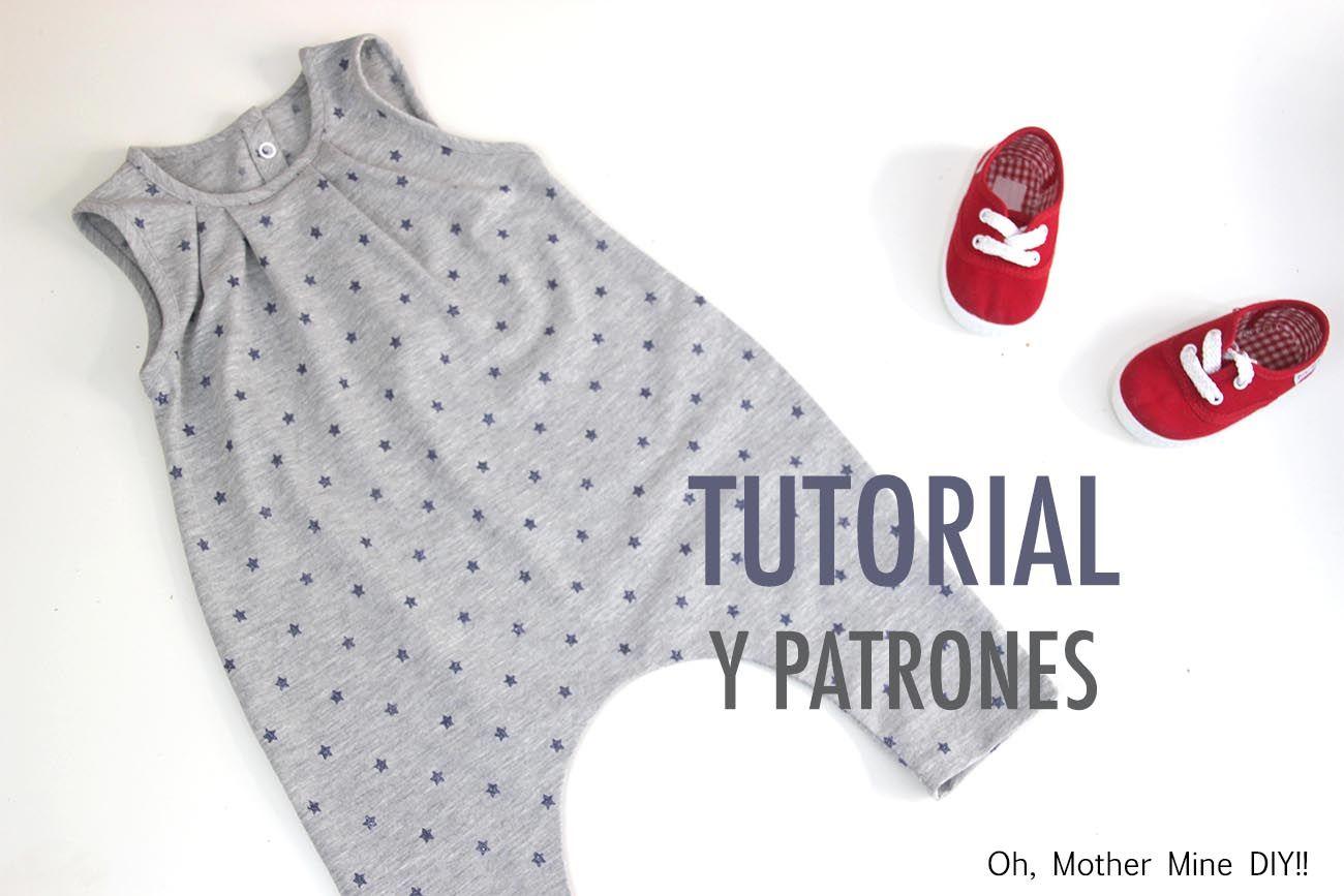 DIY Cómo hacer mono UNISEX (patrones gratis) | Ropa para bebés ...