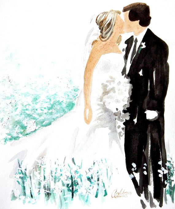 Custom Wedding Gift Or Birdesmaid 8 5 X 11 Customized Watercolor Painting Sold