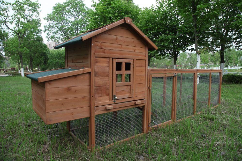 120 chicken coop hutch w run outdoor hen house poultry pet wooden rh pinterest com