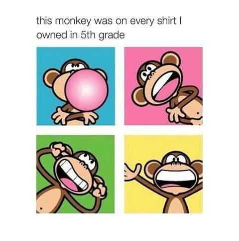 My fifth grade year too! I had a peach/orange shirt with this monkey on…