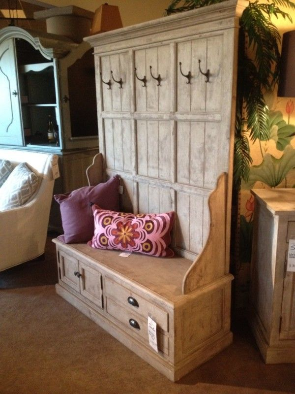 Delicieux Entryway Hall Tree Coat Hanger With Storage Bench From Reclaimed Wood  Planks With Cup Drawer Pulls And Small Cabinet Knobs On Gunmetal Paint  Color Also ...