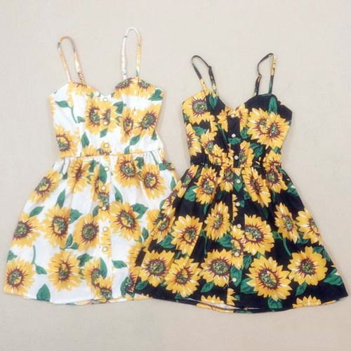 e332872c32 Sunflowers Print Elastic Waistband Strap Dress