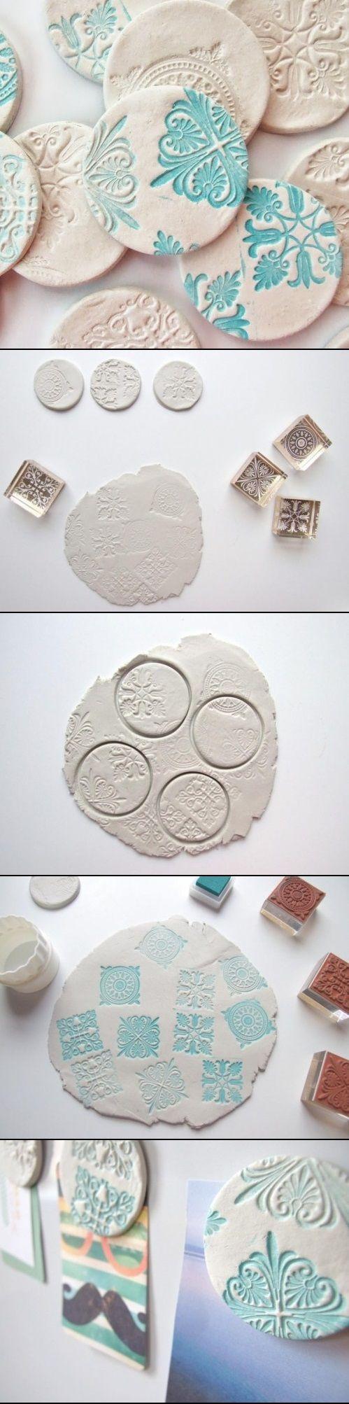 DIY clay magnets - super Idee für Knöpfe