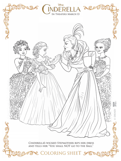 Cinderella movie coloring sheets several styles print them out and