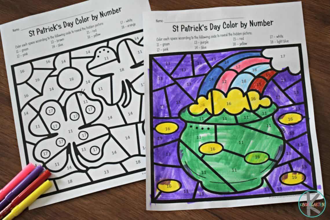 FREE St Patricks Day Color by Number Kindergarten