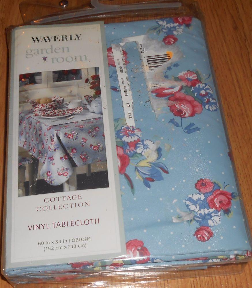 Superbe Best Waverly Garden Room Hillside Vinyl Tablecloth X Oblong Blue Pink Red  With Vinyl Tablecloth 60 X 84