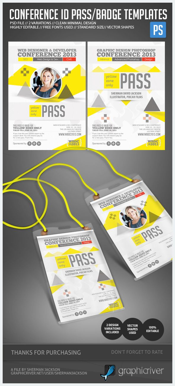 Conference Expo Corporate Pass ID Badge Pinterest Design - Event name tag template
