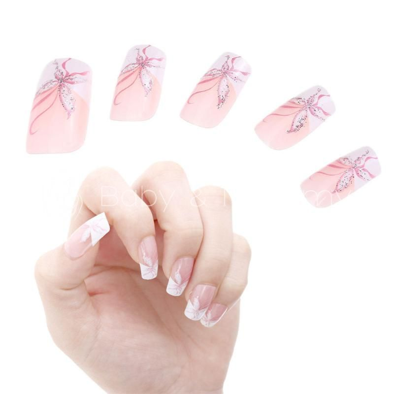 24pcs french acrylic false nail art tips butterfly pink white 24pcs french acrylic false nail art tips butterfly pink white manicure new artificial full stiletto fake prinsesfo Image collections