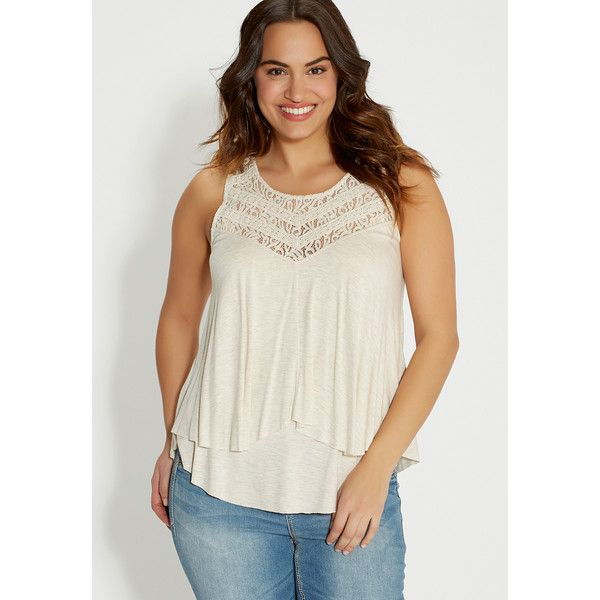 maurices plus size - layered tank with lace yoke ($34) ❤ liked on