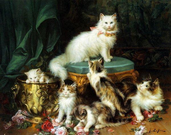 14-Chats dans l\'art classique de Jules Le Roy | Art peinture chats ...