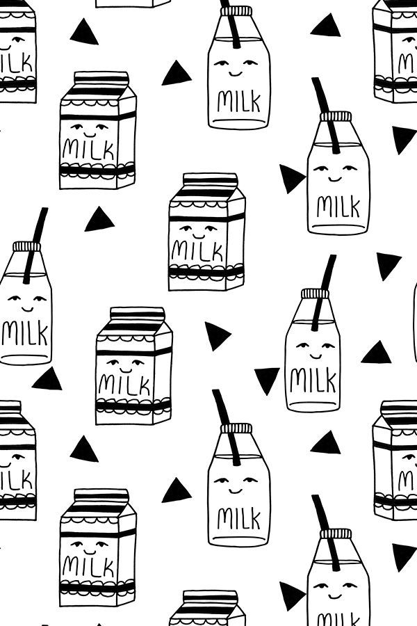 Colorful Fabrics Digitally Printed By Spoonflower Milk Black And White Kids Food Hand Drawn Illustration Fabric Pattern Bottle Drawing How To Draw Hands Paper Patterns Design