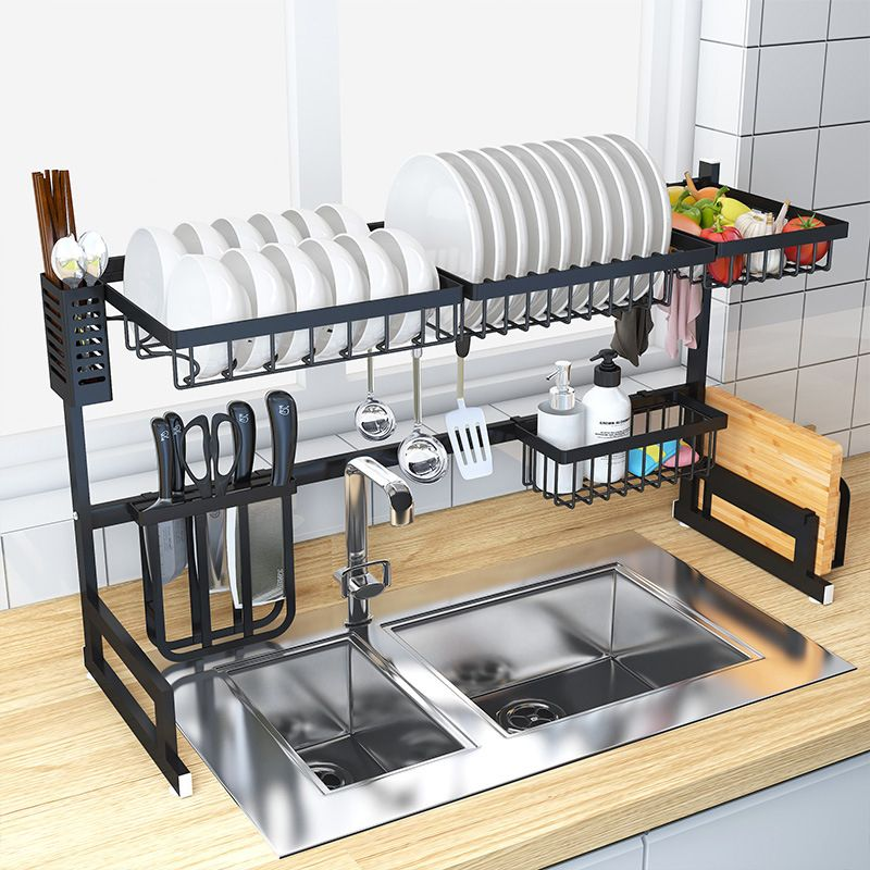 Dish Drying Rack Wall Mounted Shelf for Plates Kitchen Drain Rack Home Bowls Kitchen 2 Layer Drain Storage Rack