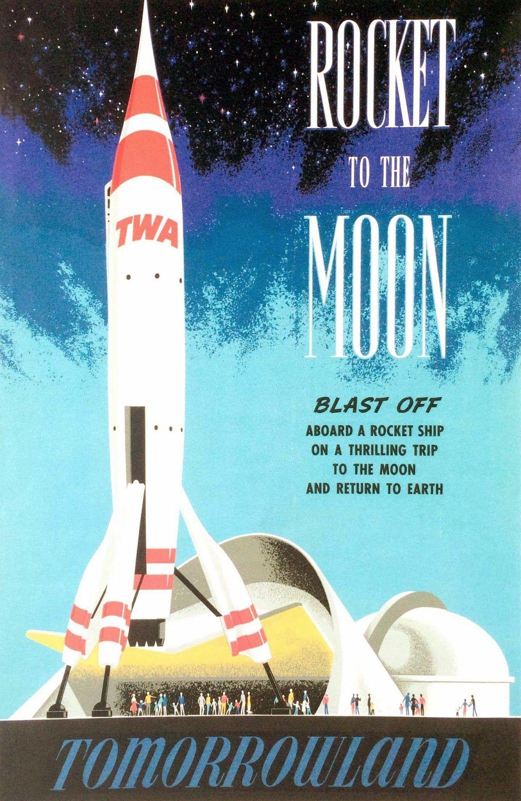 Rocket To The Moon Vintage Poster Retro Disney Vintage Disneyland Disney Posters