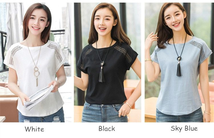 Cotton Summer Blouses Lace Batwing Sleeve Shirts For Womens Tops Shirts Plus Size Women Clothing Korean 2018 Blusas Female B65 is part of Summer Clothes Korean - UK size, please check the detail size information before purchasing  Thanks