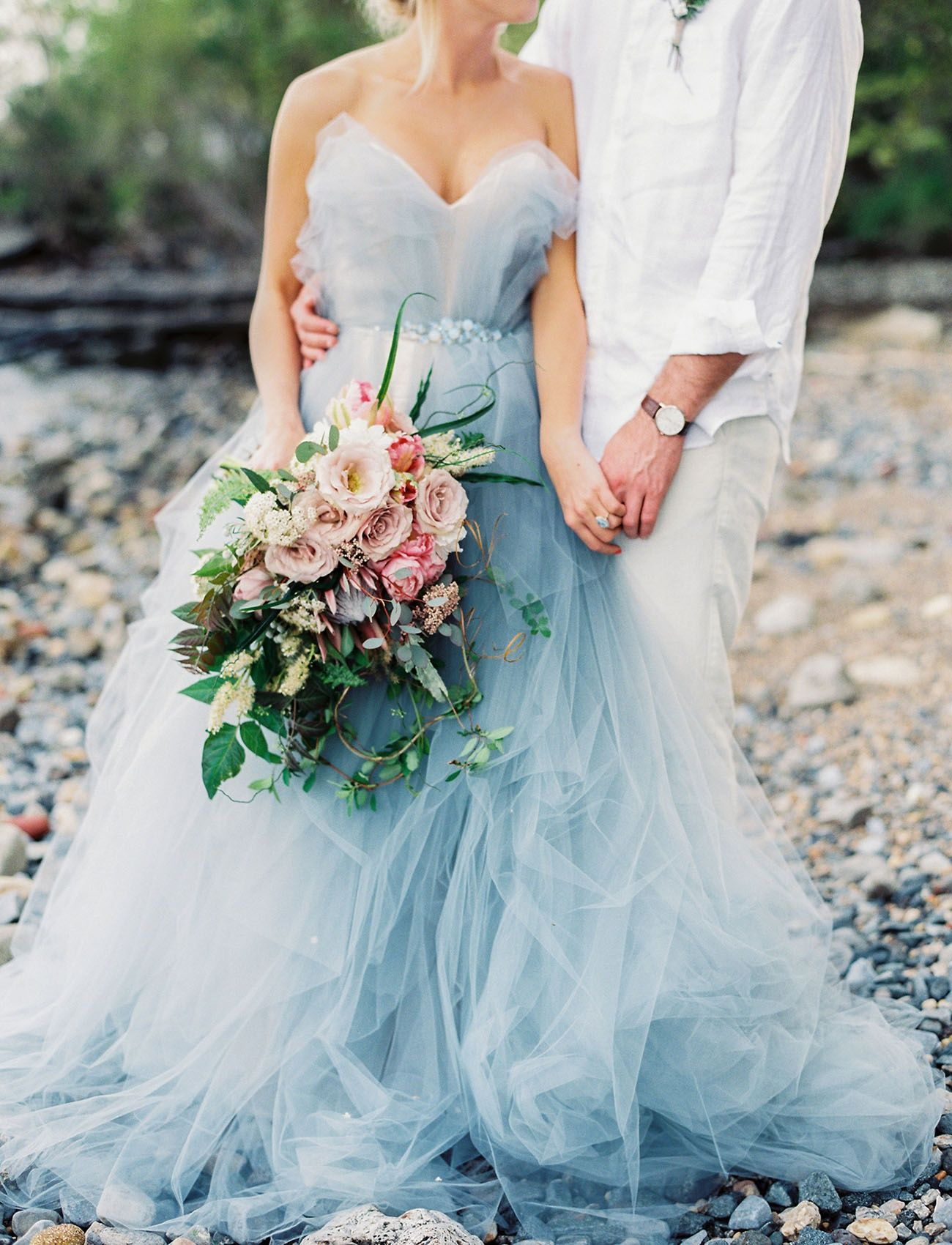 The latest wedding trend stunning serenity blue wedding dresses
