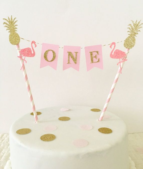 Lets Flamingle First Birthday Cake Topper Pink And Gold First