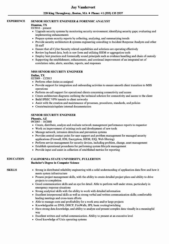 Aws Cloud Engineer Resume Awesome Senior Security Engineer Resume Samples Project Manager Resume Resume Examples Manager Resume