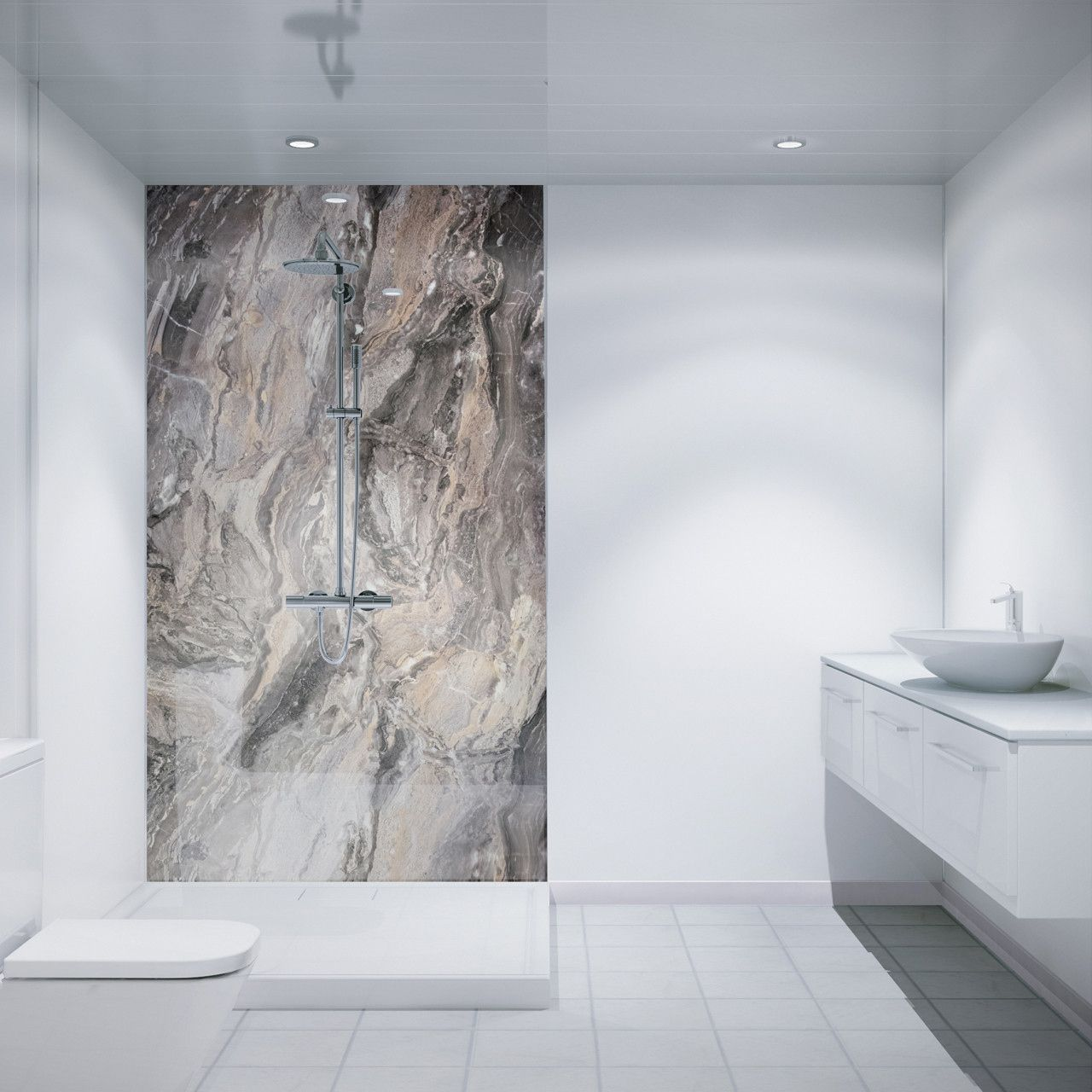 Multipanel Classic Cappuccino Stone 2400mm X 598mm Hydro Lock Tongue Groove Bathroom Wall Panel Bathroom Wall Panels Bathroom Wall Coverings Waterproof Wall Panels