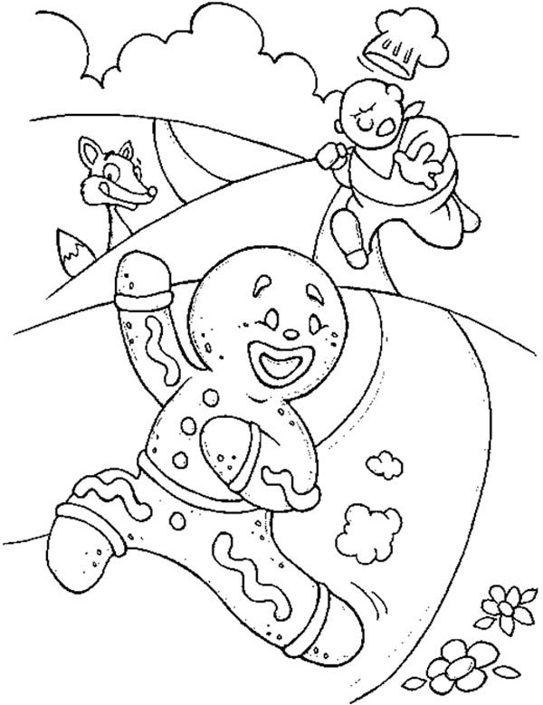 Mr Gingerbread Men Running Away From The Chef Coloring Page Kids