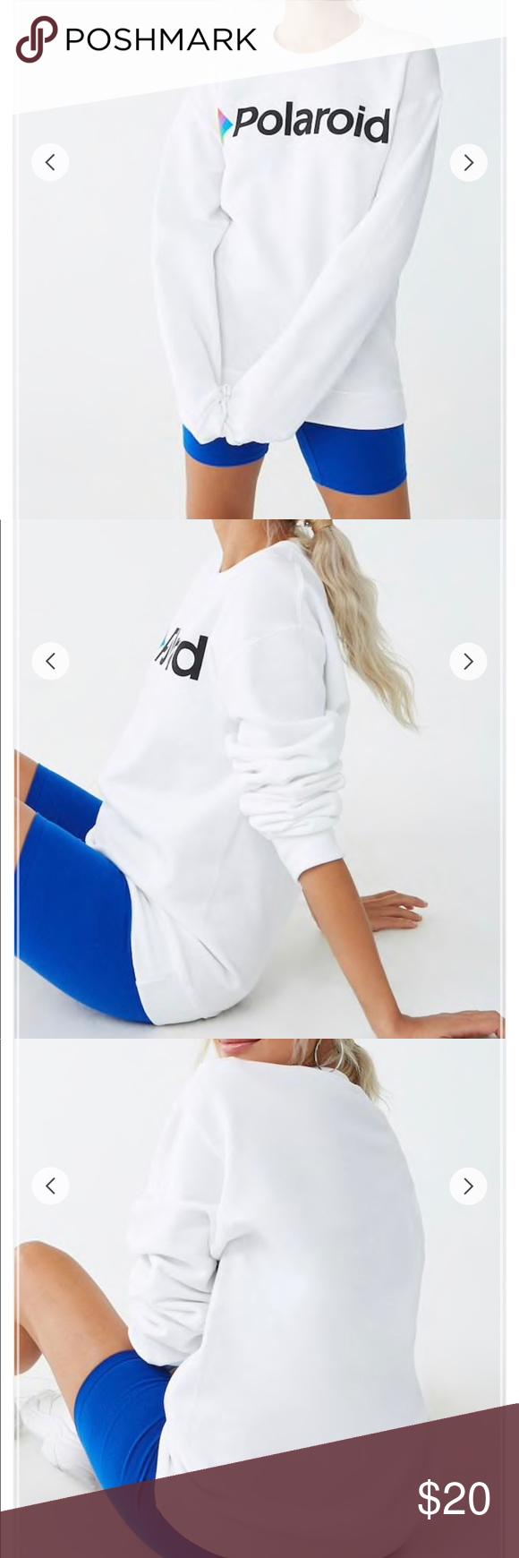 d985a475e4e Fleece Polaroid Graphic Sweatshirt • White/black • A fleece backed knit  sweatshirt that has