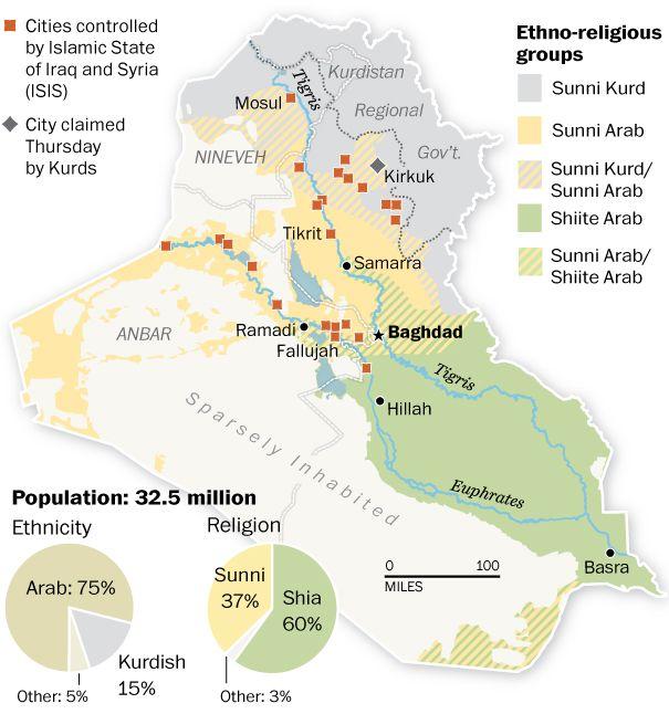 Ethnoreligious map of Iraq The Washington Post map it