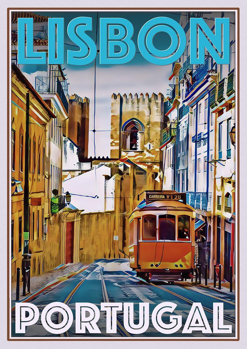 Retro Vintage Style Travel Poster Or Canvas Picture Lisbon Etsy In 2020 Travel Posters Retro Travel Poster Vintage Poster Design