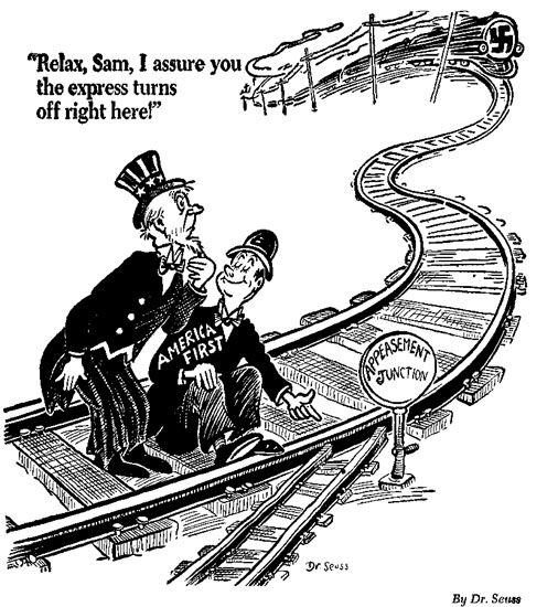Political cartoon on appeasement. The character in the