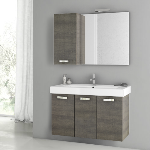 Acf Cubical 40 Inch Grey Oak Bathroom Vanity Set C81  Master Impressive 40 Inch Bathroom Vanity 2018
