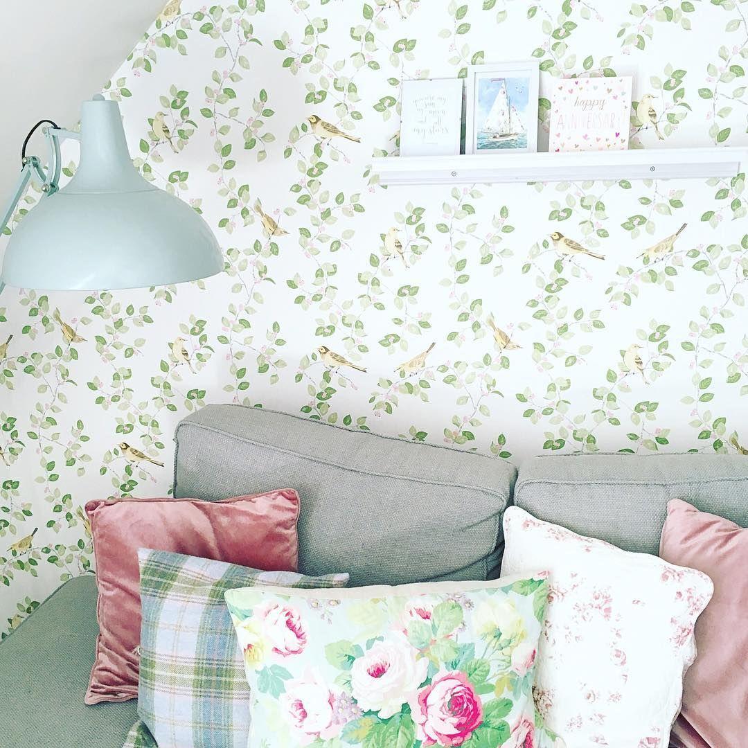 3 Aviary Garden Apple Green Wallpaper Laura Ashley Wallpaper