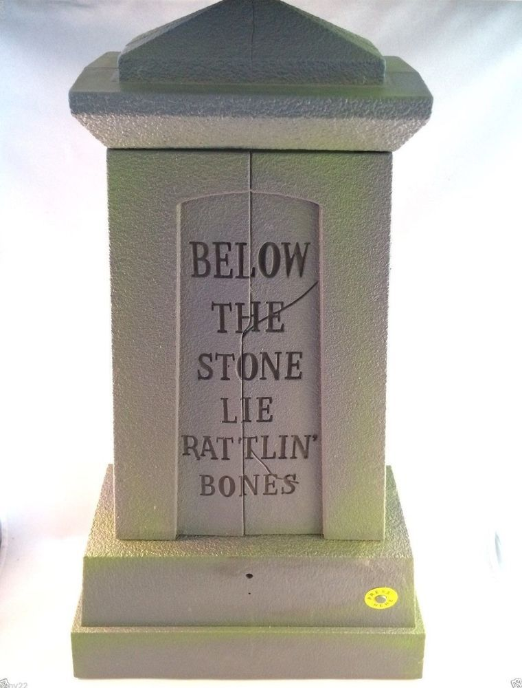 animated surprise ghouls tombstone screaming lighted gemmy halloween prop video