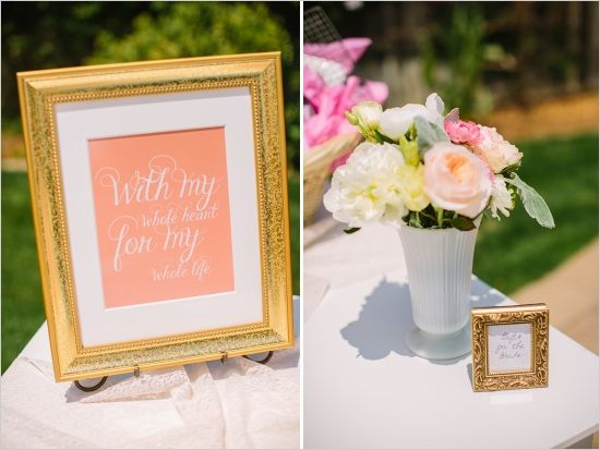 backyard bridal shower in peach and gold party in coral mint and rh pinterest com