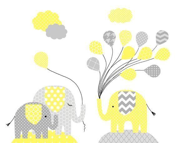 Elephant Nursery Art décor de genre neutre pour bébé décor de bébé éléphant gris et
