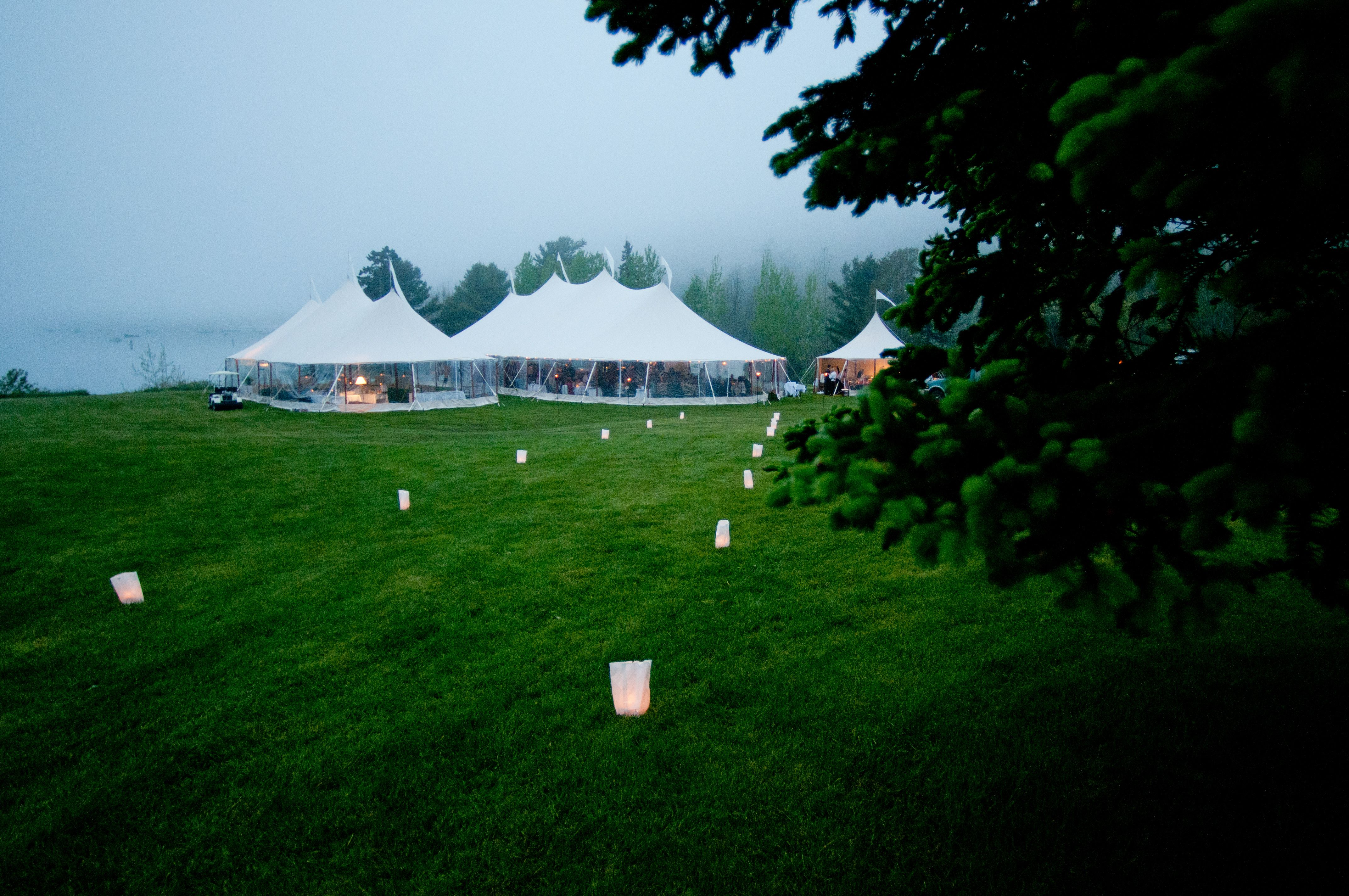 Tents at night   Maine wedding locations, England wedding ...