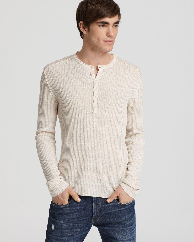 John Varvatos Star USA Mens Knit Ribbed Henley Sweater