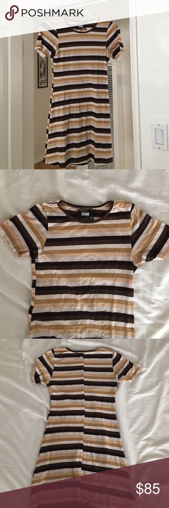 Reformation striped t shirt dress xs Such a cute lil dress. SUPER soft, can be worn casual or dressed up a bit with some kitten heels and a trench coat in the fall. Worn once. Size xs Reformation Dresses Mini