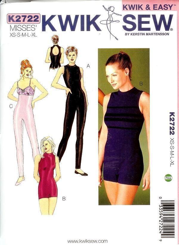 Kwik Sew Sewing Pattern 2722 Misses Unitard Bodysuit Jumpsuit