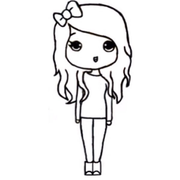 Chibi Template Kawaii Girl Drawings Easy Cartoon Drawings Easy