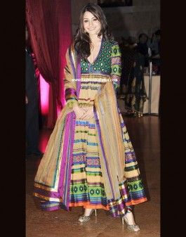 Create a spectrum over soft but sturdy fabric and be an outstanding figure in major events as Anushka Sharma has done with #Anarkali #suit at Gelelia-Riteish Reception