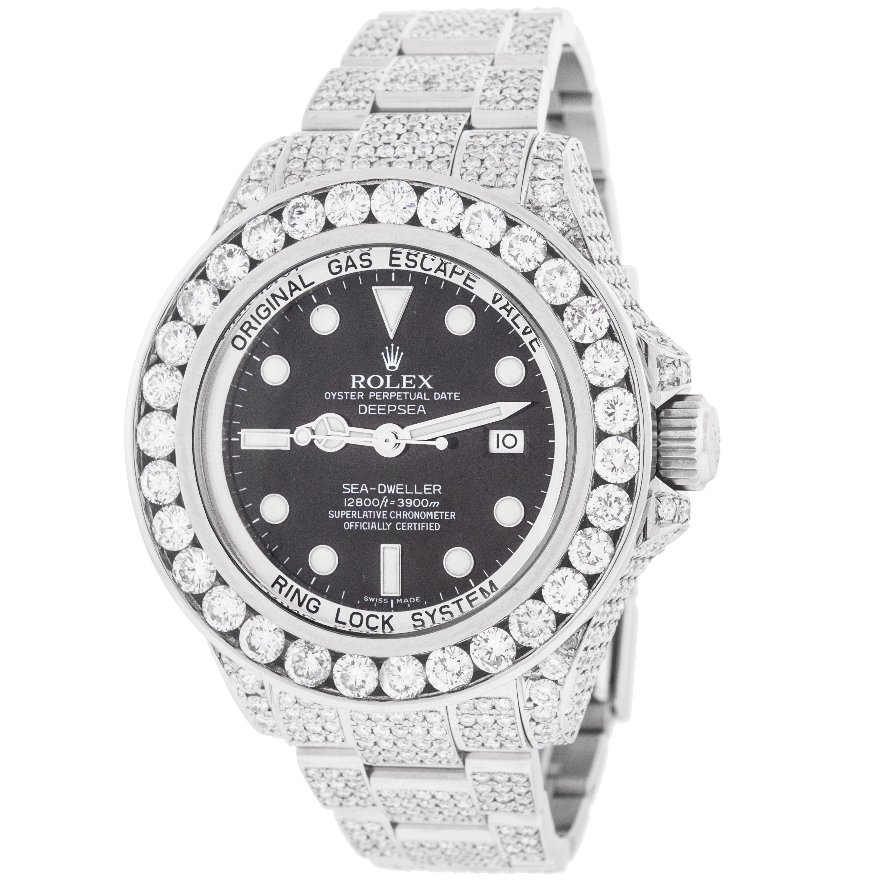 Rolex Sea-Dweller Deepsea 116660 Custom 24ct Diamonds Stainless Steel Automatic Men's Watch