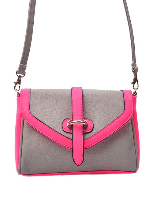 Lovely Lined Duo Tone crossbody bag gy 643 #hnd #purse #pretty #neonpink #gray #wholesale #pintit