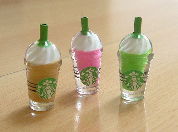 2 X Dollhouse STARBUCKS MINIATURE FRAPPUCCINO COFFEE Prop Tiny Drink 1:6