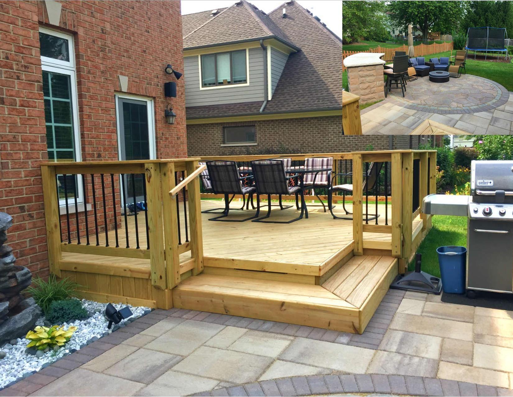 Wood Deck and Belgard Paver Patio Design