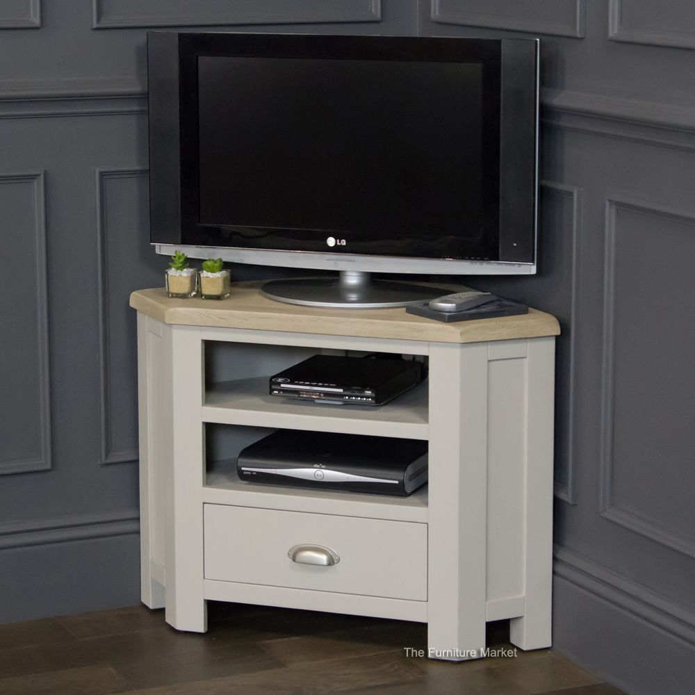 grey stone painted corner tv unit with oak top for the home rh pinterest cl