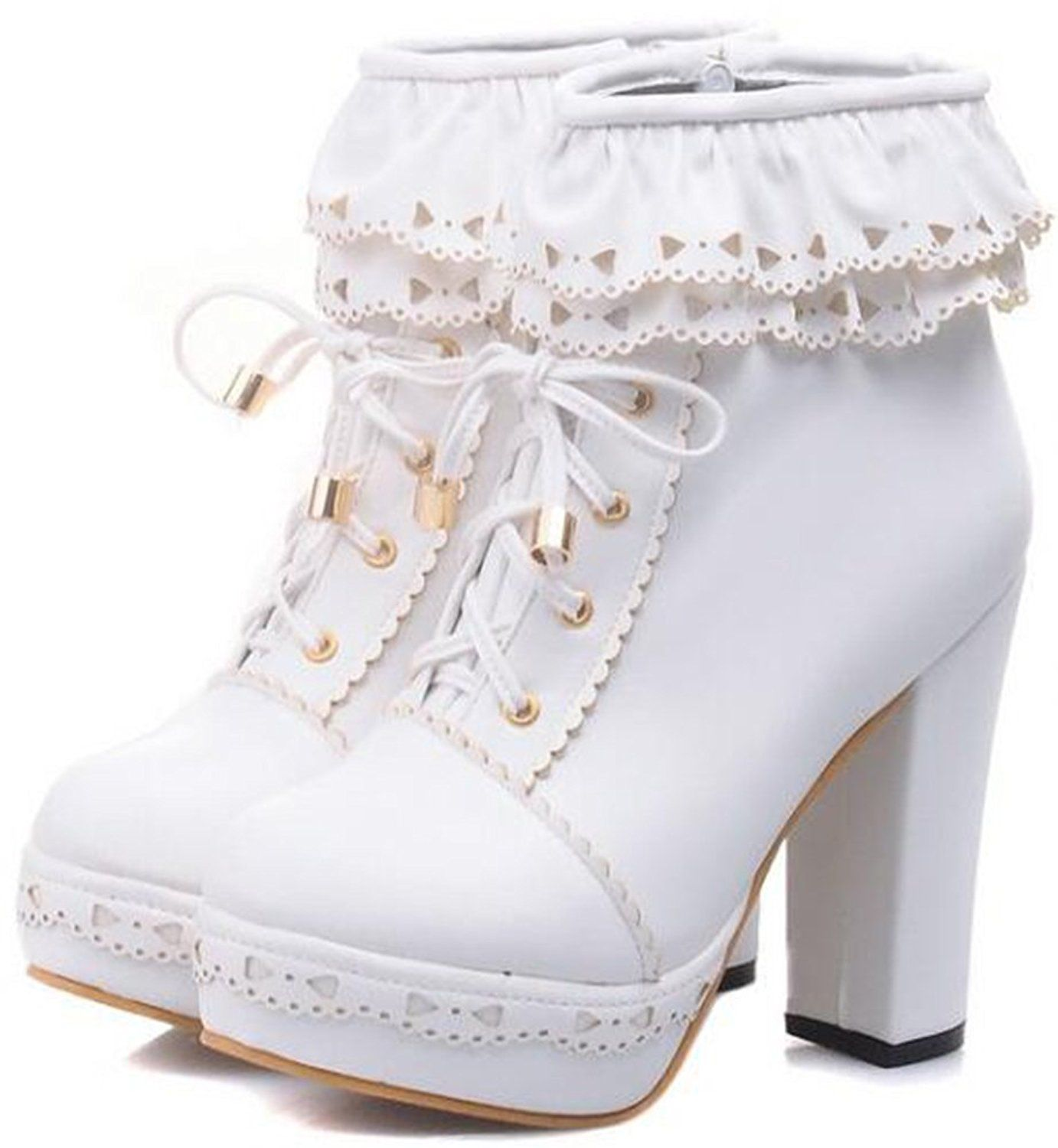 Women's Elegant Falbala Splicing Round Toe Lace-up Bridal Booties Side Zipper Chunky High Heel Platform Ankle Boots