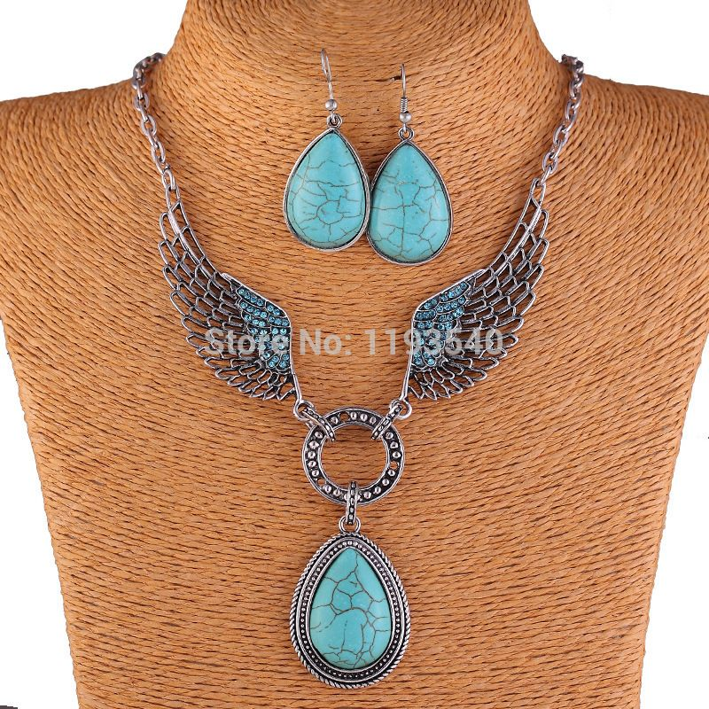 Free Shipping New Hot Turquoise Angel wings Vintage Fashion Pendant Necklace Earring set Costume Jewellery Bijouterie women - http://www.aliexpress.com/item/Free-Shipping-New-Hot-Turquoise-Angel-wings-Vintage-Fashion-Pendant-Necklace-Earring-set-Costume-Jewellery-Bijouterie-women/1951491037.html