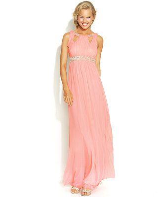 City Studios Juniors\' Beaded-Trim Gown | Macy\'s $109 | Fashion ...